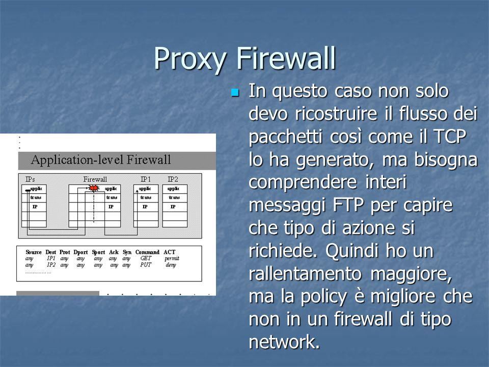 Proxy Firewall In questo caso non solo devo ricostruire il flusso dei pacchetti così come il TCP lo ha generato, ma bisogna comprendere interi messaggi FTP per capire che tipo di azione si richiede.