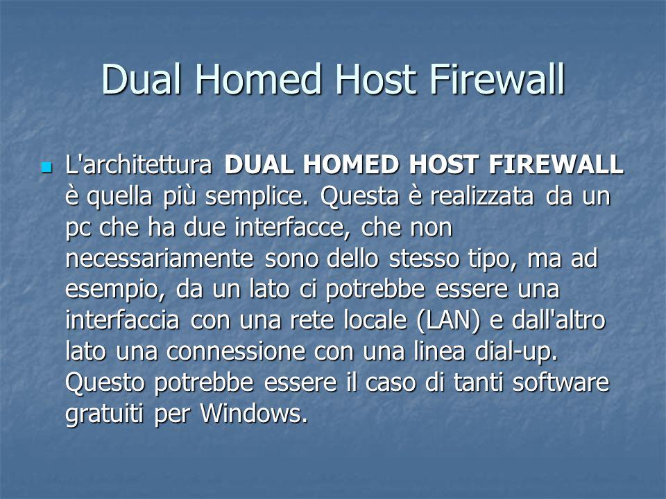 Dual Homed Host Firewall L architettura DUAL HOMED HOST FIREWALL è quella più semplice.