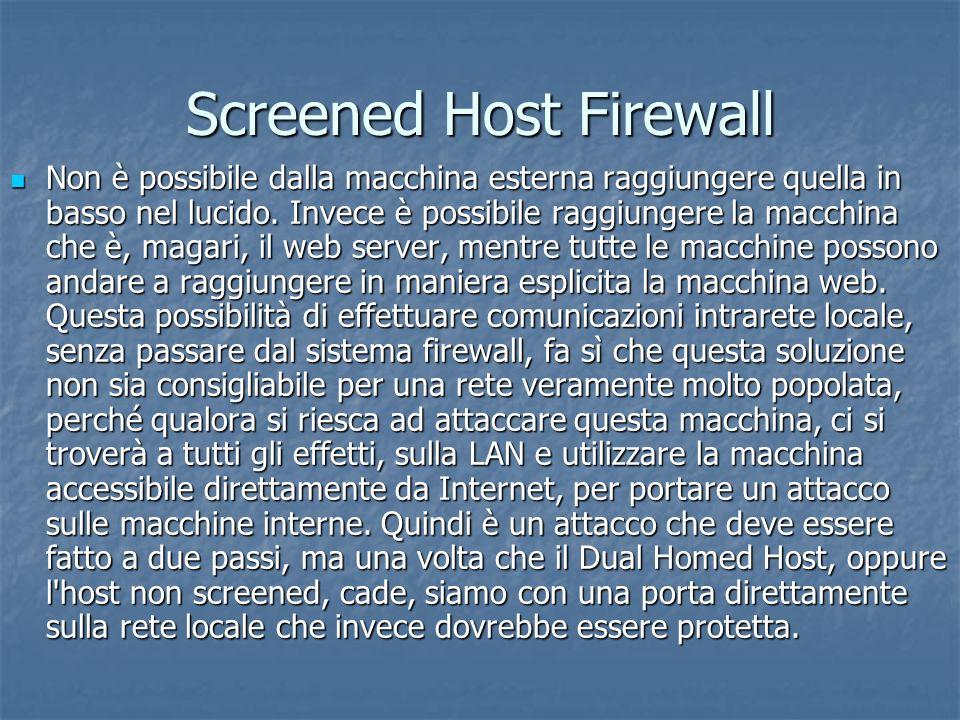 Screened Host Firewall Non è possibile dalla macchina esterna raggiungere quella in basso nel lucido.