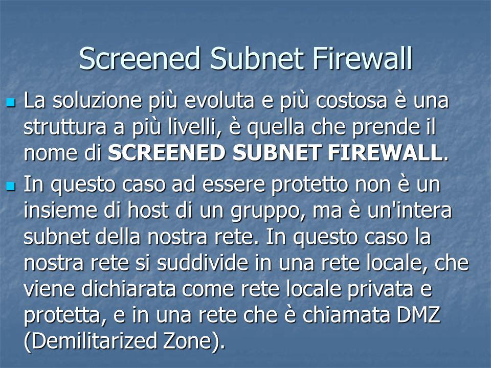 Screened Subnet Firewall La soluzione più evoluta e più costosa è una struttura a più livelli, è quella che prende il nome di SCREENED SUBNET FIREWALL.