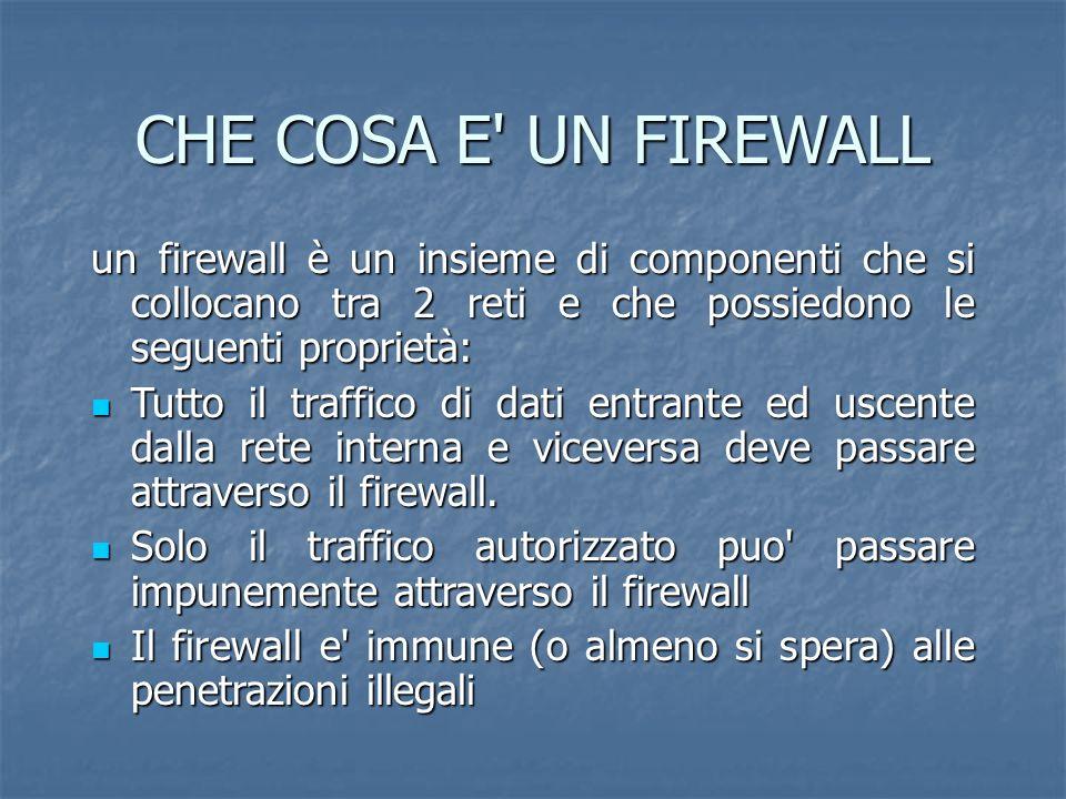 CHE COSA E UN FIREWALL un firewall è un insieme di componenti che si collocano tra 2 reti e che possiedono le seguenti proprietà: Tutto il traffico di dati entrante ed uscente dalla rete interna e viceversa deve passare attraverso il firewall.