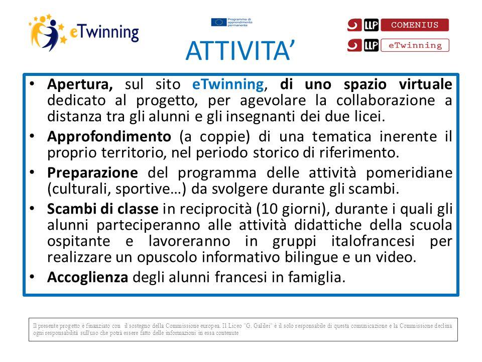 ATTIVITA Apertura, sul sito eTwinning, di uno spazio virtuale dedicato al progetto, per agevolare la collaborazione a distanza tra gli alunni e gli insegnanti dei due licei.