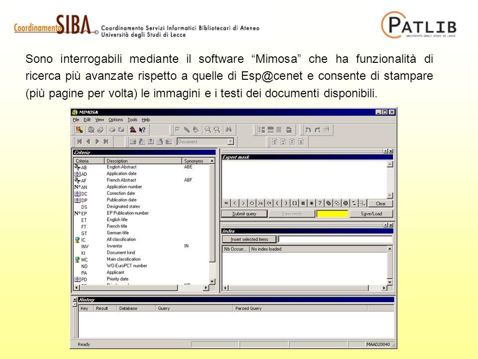 Sono interrogabili mediante il software Mimosa che ha funzionalità di ricerca più avanzate rispetto a quelle di Esp@cenet e consente di stampare (più pagine per volta) le immagini e i testi dei documenti disponibili.
