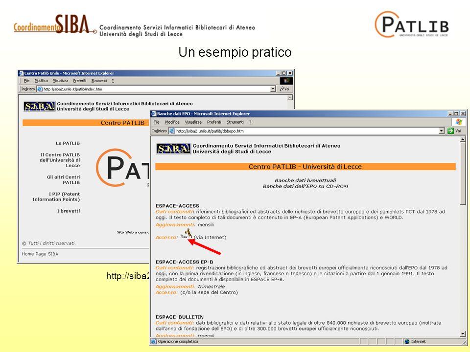 http://siba2.unile.it/patlib Un esempio pratico