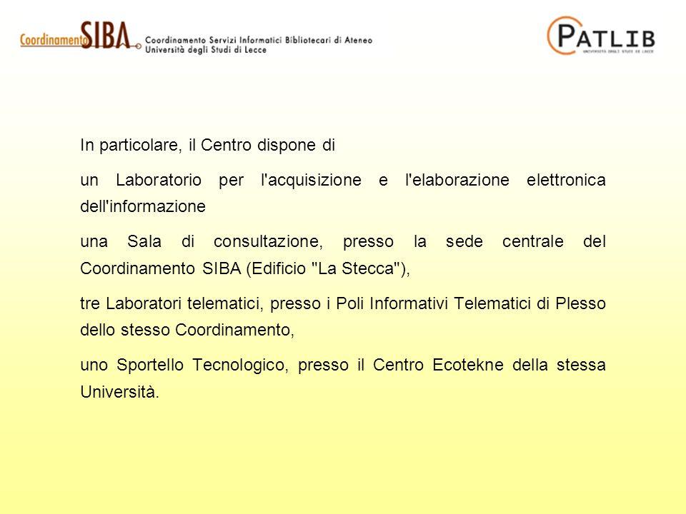 In particolare, il Centro dispone di un Laboratorio per l'acquisizione e l'elaborazione elettronica dell'informazione una Sala di consultazione, press