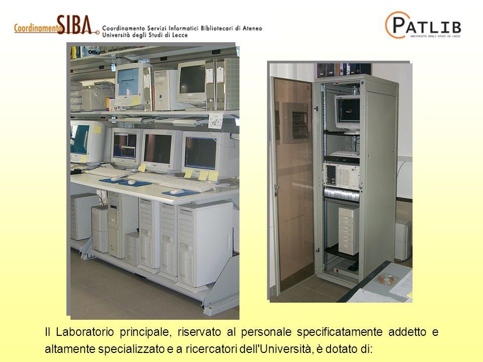 Il Laboratorio principale, riservato al personale specificatamente addetto e altamente specializzato e a ricercatori dell'Università, è dotato di: