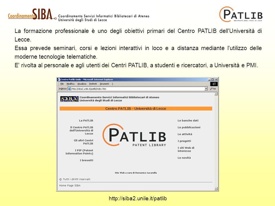 La formazione professionale è uno degli obiettivi primari del Centro PATLIB dell'Università di Lecce. Essa prevede seminari, corsi e lezioni interatti