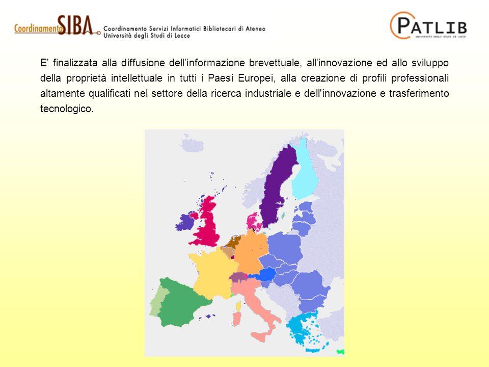 E finalizzata alla diffusione dell informazione brevettuale, all innovazione ed allo sviluppo della proprietà intellettuale in tutti i Paesi Europei, alla creazione di profili professionali altamente qualificati nel settore della ricerca industriale e dell innovazione e trasferimento tecnologico.