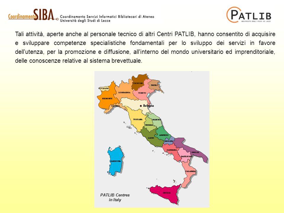 Tali attività, aperte anche al personale tecnico di altri Centri PATLIB, hanno consentito di acquisire e sviluppare competenze specialistiche fondamen