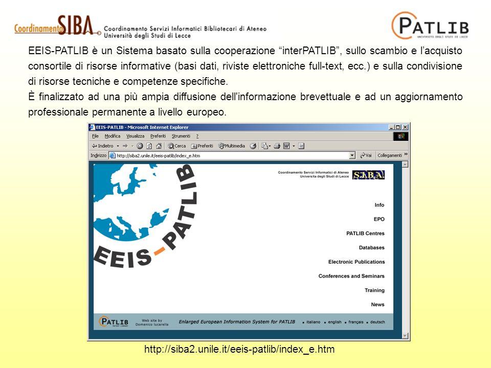 EEIS-PATLIB è un Sistema basato sulla cooperazione interPATLIB, sullo scambio e lacquisto consortile di risorse informative (basi dati, riviste elettr