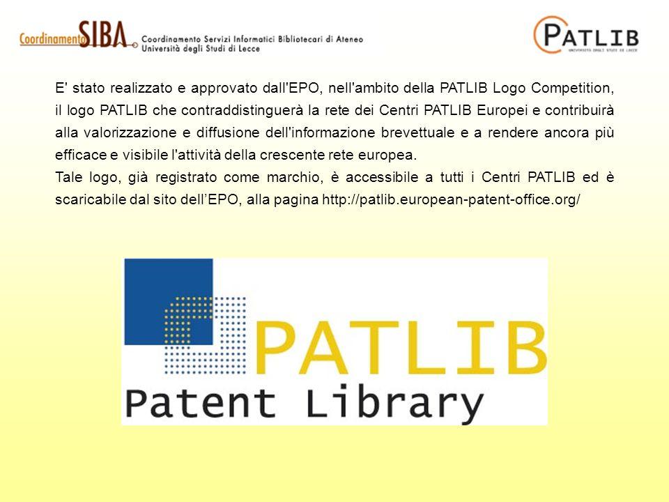 E stato realizzato e approvato dall EPO, nell ambito della PATLIB Logo Competition, il logo PATLIB che contraddistinguerà la rete dei Centri PATLIB Europei e contribuirà alla valorizzazione e diffusione dell informazione brevettuale e a rendere ancora più efficace e visibile l attività della crescente rete europea.