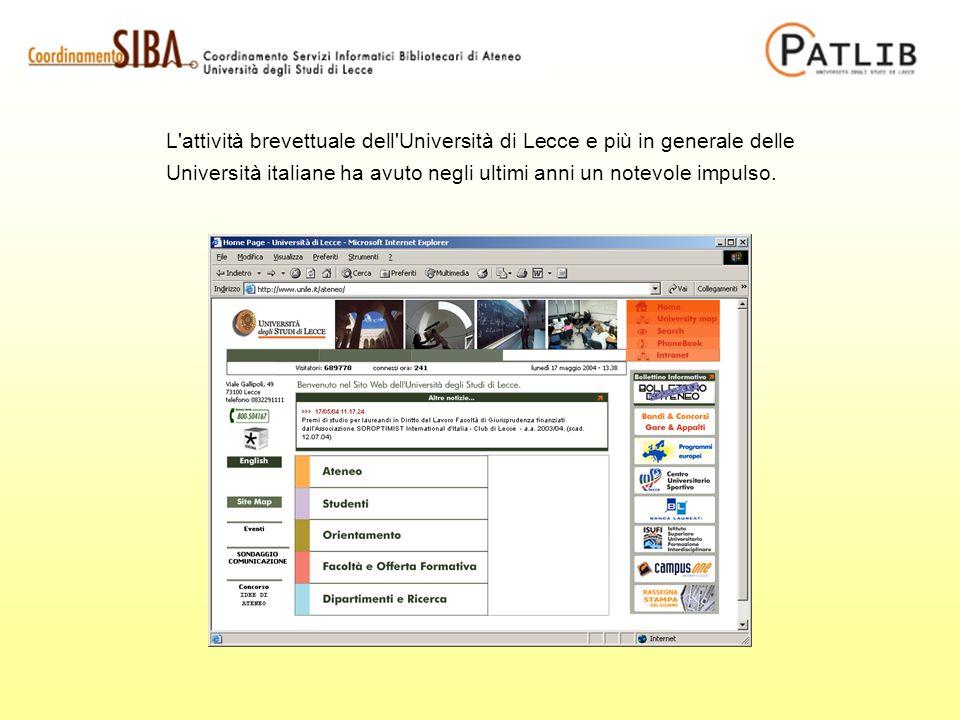 L attività brevettuale dell Università di Lecce e più in generale delle Università italiane ha avuto negli ultimi anni un notevole impulso.