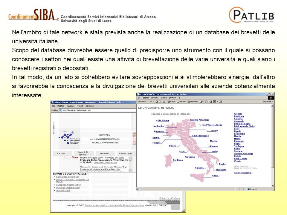 Nell ambito di tale network è stata prevista anche la realizzazione di un database dei brevetti delle università italiane.