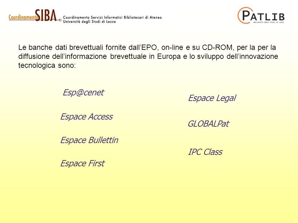 Le banche dati brevettuali fornite dallEPO, on-line e su CD-ROM, per la per la diffusione dellinformazione brevettuale in Europa e lo sviluppo dellinn