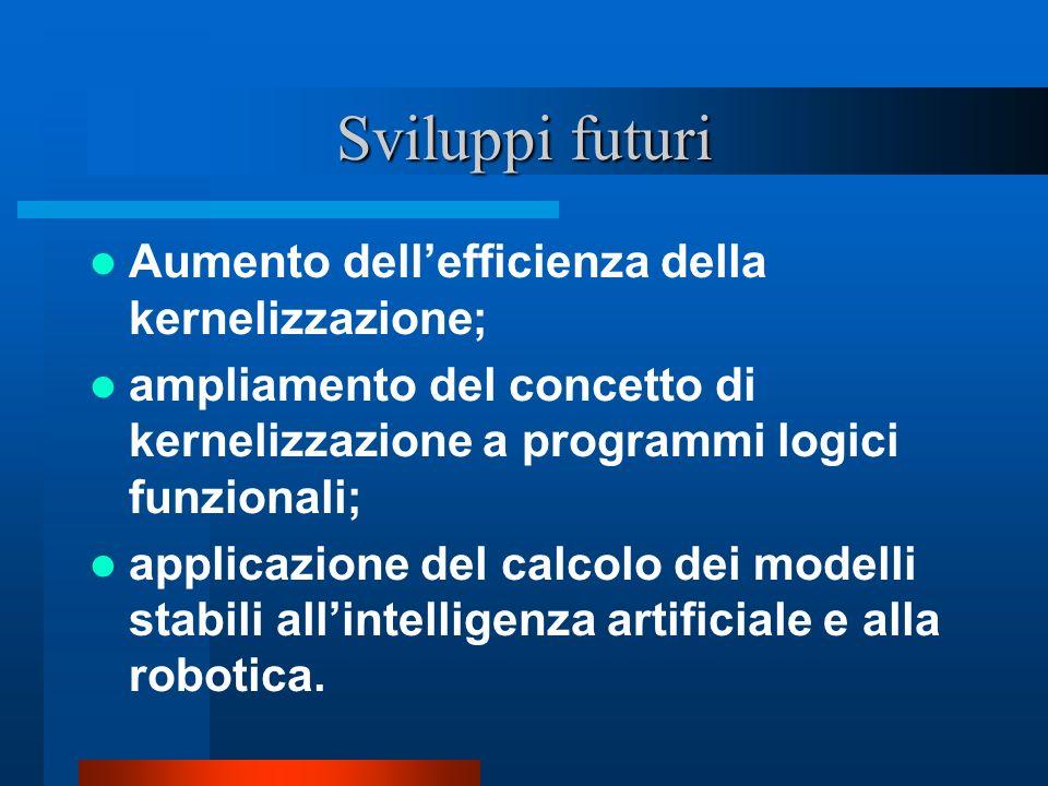 Sviluppi futuri Aumento dellefficienza della kernelizzazione; ampliamento del concetto di kernelizzazione a programmi logici funzionali; applicazione