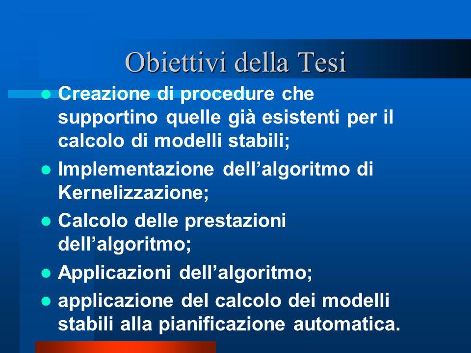Obiettivi della Tesi Creazione di procedure che supportino quelle già esistenti per il calcolo di modelli stabili; Implementazione dellalgoritmo di Ke