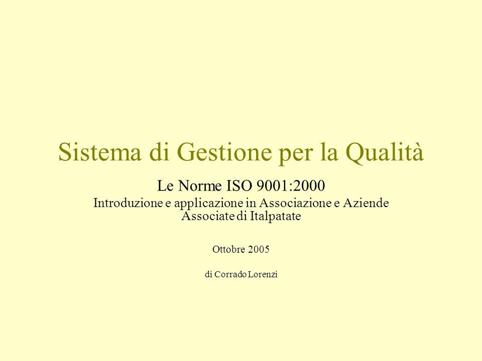 Sistema di Gestione per la Qualità Le Norme ISO 9001:2000 Introduzione e applicazione in Associazione e Aziende Associate di Italpatate Ottobre 2005 d