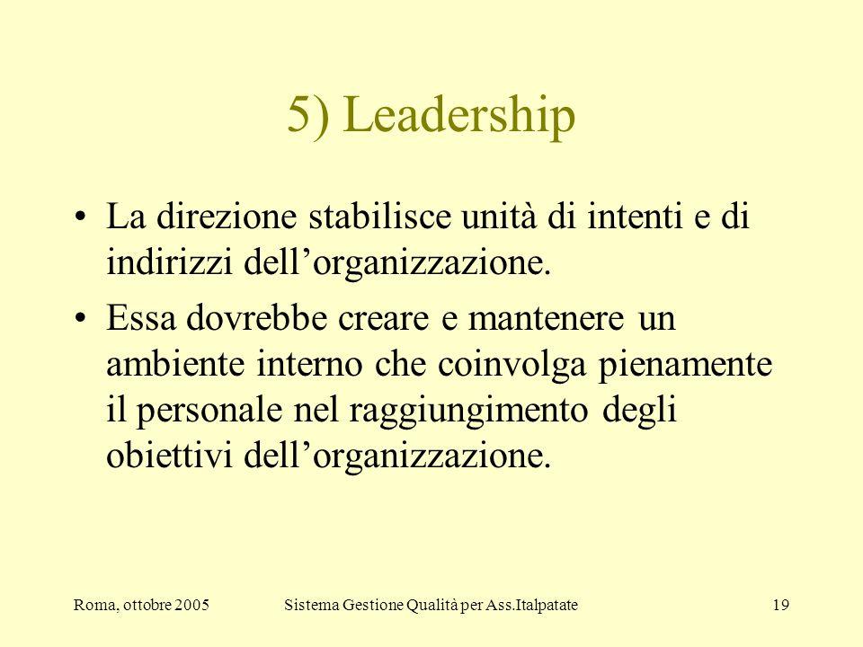 Roma, ottobre 2005Sistema Gestione Qualità per Ass.Italpatate19 5) Leadership La direzione stabilisce unità di intenti e di indirizzi dellorganizzazio