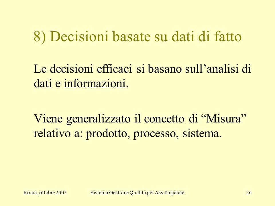 Roma, ottobre 2005Sistema Gestione Qualità per Ass.Italpatate26 8) Decisioni basate su dati di fatto Le decisioni efficaci si basano sullanalisi di da