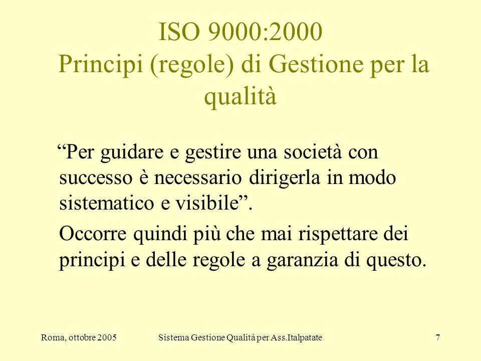 Roma, ottobre 2005Sistema Gestione Qualità per Ass.Italpatate7 ISO 9000:2000 Principi (regole) di Gestione per la qualità Per guidare e gestire una so