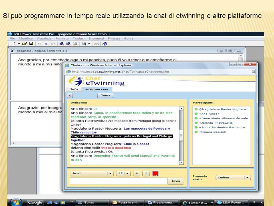 Si può programmare in tempo reale utilizzando la chat di etwinning o altre piattaforme