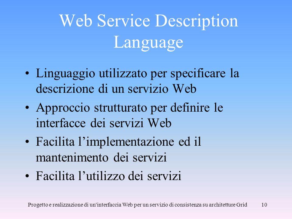 Progetto e realizzazione di un interfaccia Web per un servizio di consistenza su architetture Grid10 Web Service Description Language Linguaggio utilizzato per specificare la descrizione di un servizio Web Approccio strutturato per definire le interfacce dei servizi Web Facilita limplementazione ed il mantenimento dei servizi Facilita lutilizzo dei servizi