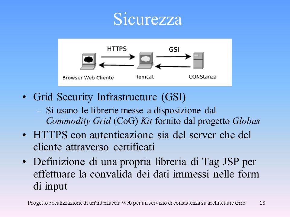 Progetto e realizzazione di un interfaccia Web per un servizio di consistenza su architetture Grid18 Sicurezza Grid Security Infrastructure (GSI) –Si usano le librerie messe a disposizione dal Commodity Grid (CoG) Kit fornito dal progetto Globus HTTPS con autenticazione sia del server che del cliente attraverso certificati Definizione di una propria libreria di Tag JSP per effettuare la convalida dei dati immessi nelle form di input