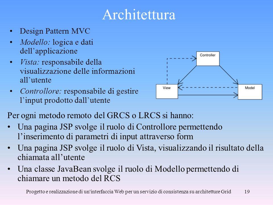 Progetto e realizzazione di un interfaccia Web per un servizio di consistenza su architetture Grid19 Architettura Design Pattern MVC Modello: logica e dati dellapplicazione Vista: responsabile della visualizzazione delle informazioni allutente Controllore: responsabile di gestire linput prodotto dallutente Per ogni metodo remoto del GRCS o LRCS si hanno: Una pagina JSP svolge il ruolo di Controllore permettendo linserimento di parametri di input attraverso form Una pagina JSP svolge il ruolo di Vista, visualizzando il risultato della chiamata allutente Una classe JavaBean svolge il ruolo di Modello permettendo di chiamare un metodo del RCS