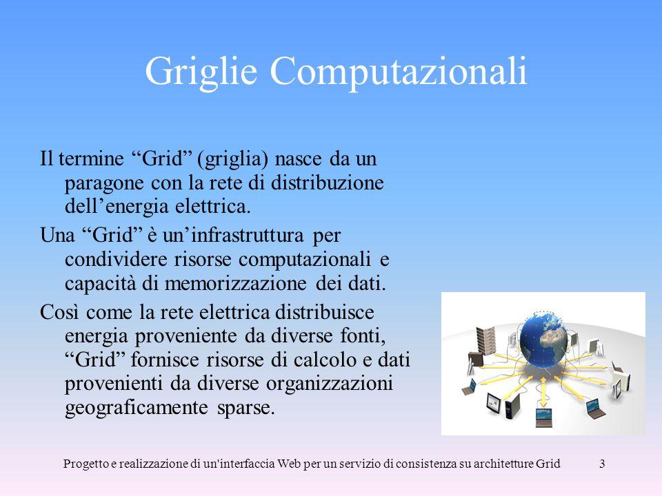 Progetto e realizzazione di un interfaccia Web per un servizio di consistenza su architetture Grid3 Griglie Computazionali Il termine Grid (griglia) nasce da un paragone con la rete di distribuzione dellenergia elettrica.