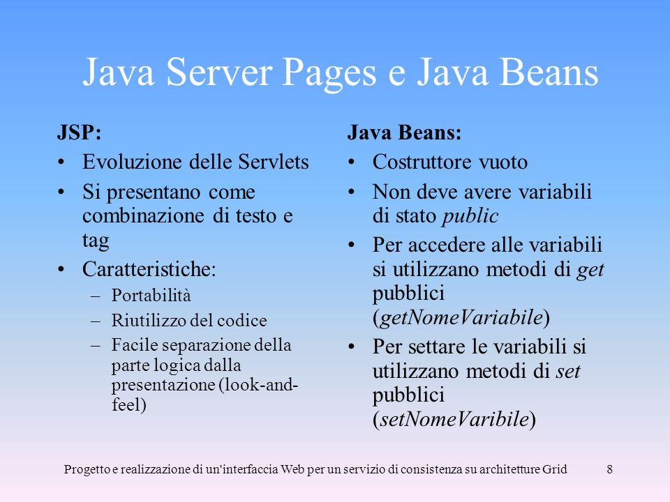Progetto e realizzazione di un interfaccia Web per un servizio di consistenza su architetture Grid8 Java Server Pages e Java Beans JSP: Evoluzione delle Servlets Si presentano come combinazione di testo e tag Caratteristiche: –Portabilità –Riutilizzo del codice –Facile separazione della parte logica dalla presentazione (look-and- feel) Java Beans: Costruttore vuoto Non deve avere variabili di stato public Per accedere alle variabili si utilizzano metodi di get pubblici (getNomeVariabile) Per settare le variabili si utilizzano metodi di set pubblici (setNomeVaribile)