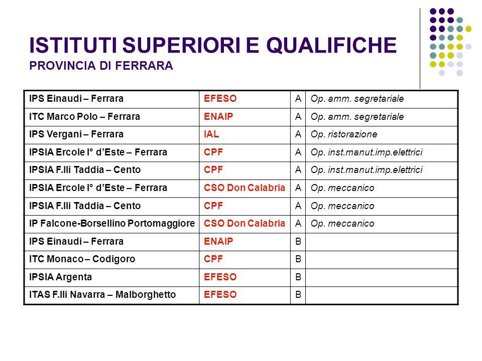 ISTITUTI SUPERIORI E QUALIFICHE PROVINCIA DI FERRARA IPS Einaudi – FerraraEFESOAOp.