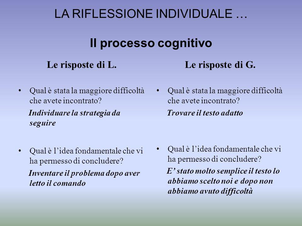 LA RIFLESSIONE INDIVIDUALE … Il processo cognitivo Le risposte di L. Qual è stata la maggiore difficoltà che avete incontrato? Individuare la strategi