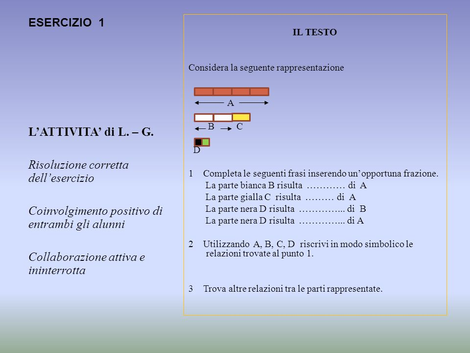 ESERCIZIO 1 IL TESTO Considera la seguente rappresentazione A B C D 1 Completa le seguenti frasi inserendo unopportuna frazione. La parte bianca B ris