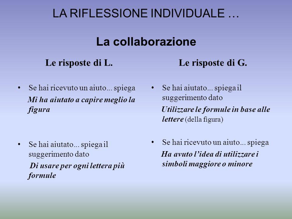 LA RIFLESSIONE INDIVIDUALE … La collaborazione Le risposte di L. Se hai ricevuto un aiuto... spiega Mi ha aiutato a capire meglio la figura Se hai aiu