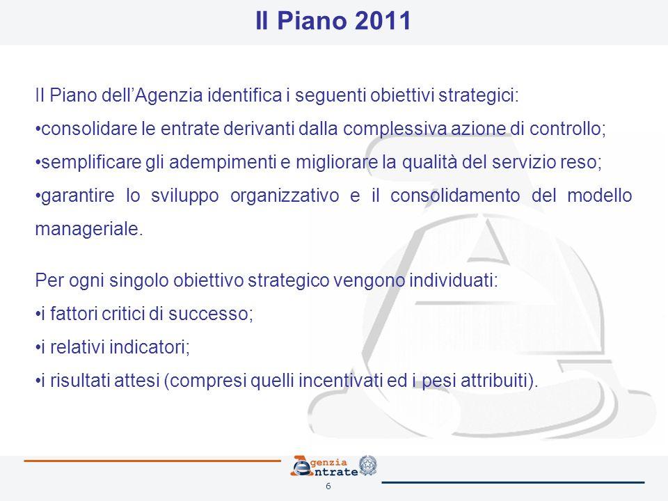 6 Il Piano 2011 Il Piano dellAgenzia identifica i seguenti obiettivi strategici: consolidare le entrate derivanti dalla complessiva azione di controllo; semplificare gli adempimenti e migliorare la qualità del servizio reso; garantire lo sviluppo organizzativo e il consolidamento del modello manageriale.