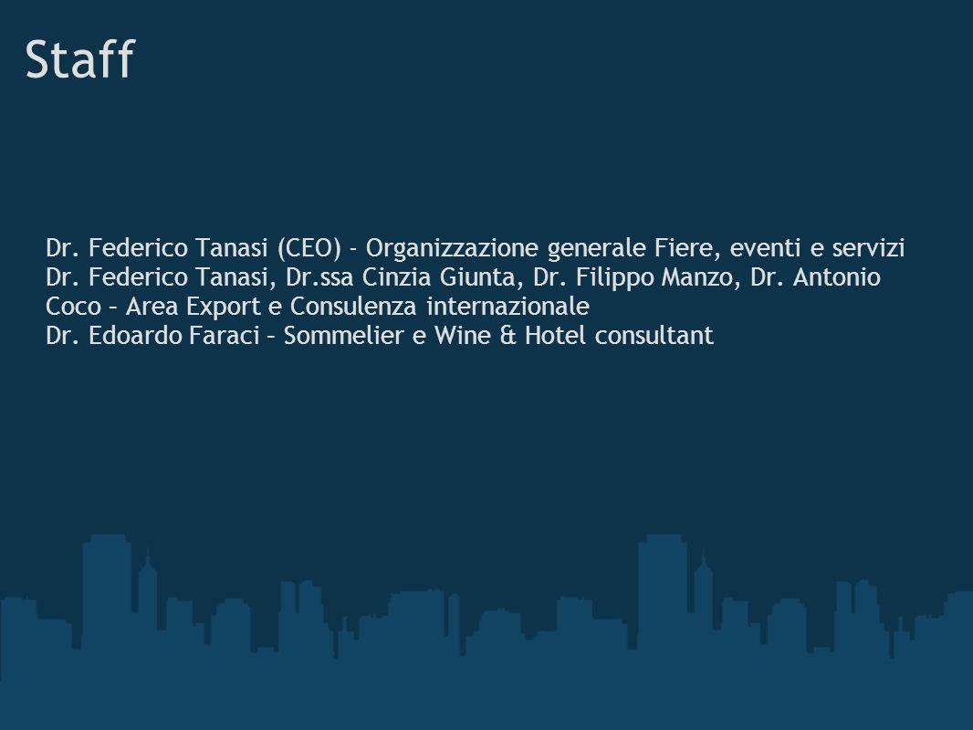Staff Dr. Federico Tanasi (CEO) - Organizzazione generale Fiere, eventi e servizi Dr. Federico Tanasi, Dr.ssa Cinzia Giunta, Dr. Filippo Manzo, Dr. An