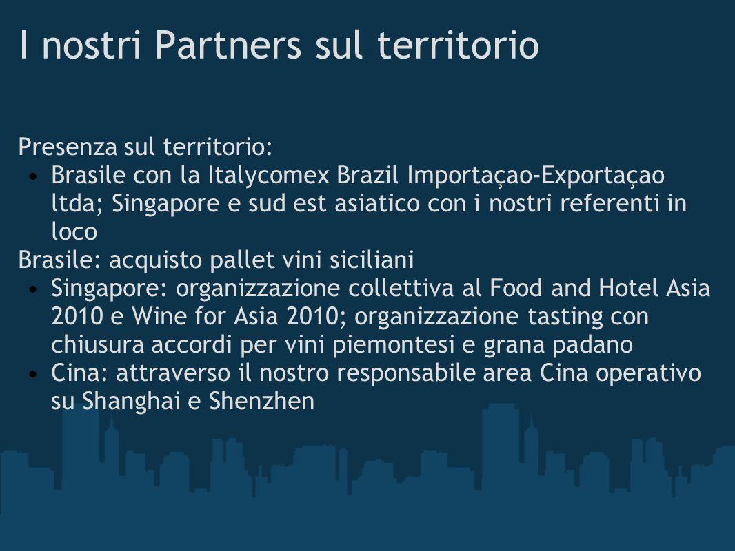I nostri Partners sul territorio Presenza sul territorio: Brasile con la Italycomex Brazil Importaçao-Exportaçao ltda; Singapore e sud est asiatico co