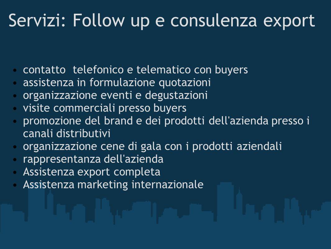 Servizi: Follow up e consulenza export contatto telefonico e telematico con buyers assistenza in formulazione quotazioni organizzazione eventi e degus