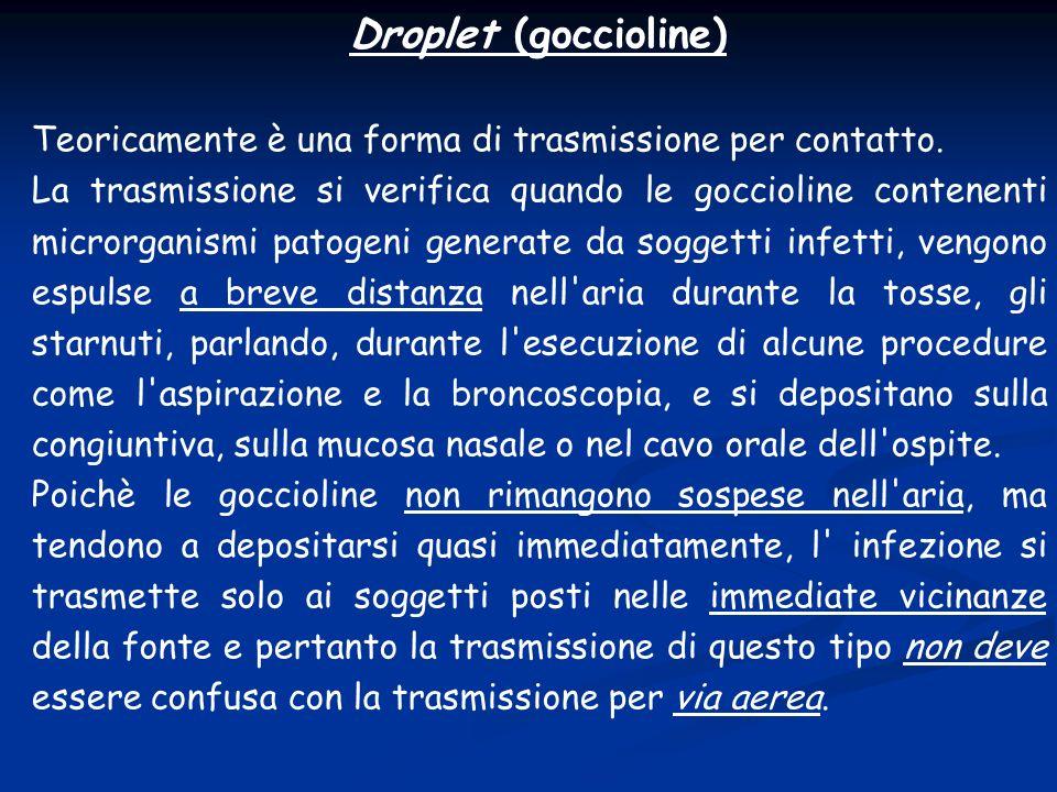 Droplet (goccioline) Teoricamente è una forma di trasmissione per contatto. La trasmissione si verifica quando le goccioline contenenti microrganismi