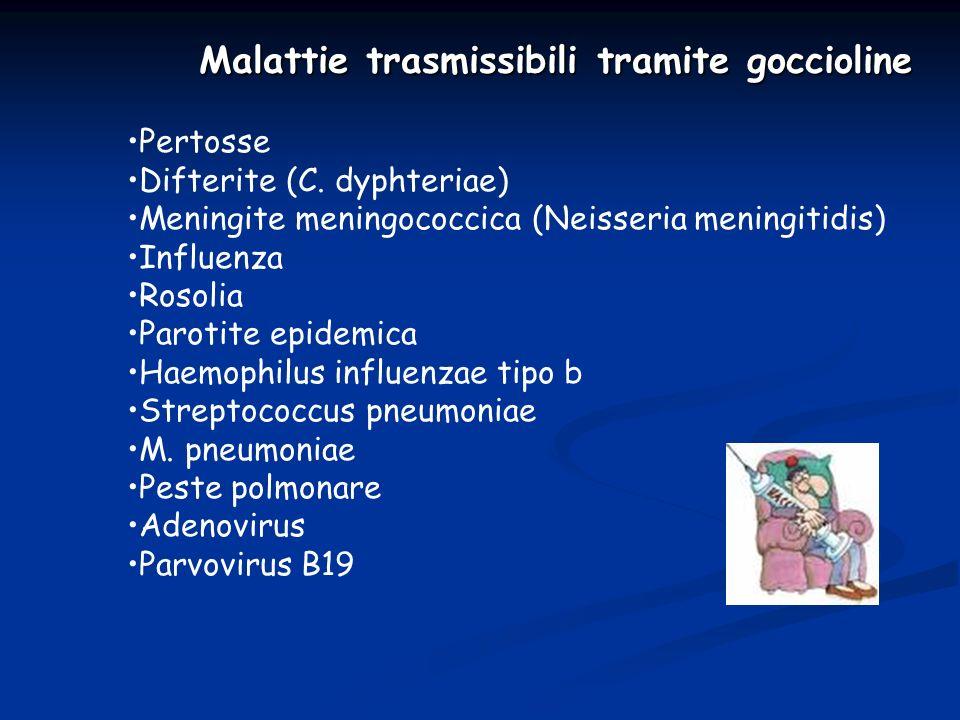 Malattie trasmissibili tramite goccioline Pertosse Difterite (C. dyphteriae) Meningite meningococcica (Neisseria meningitidis) Influenza Rosolia Parot