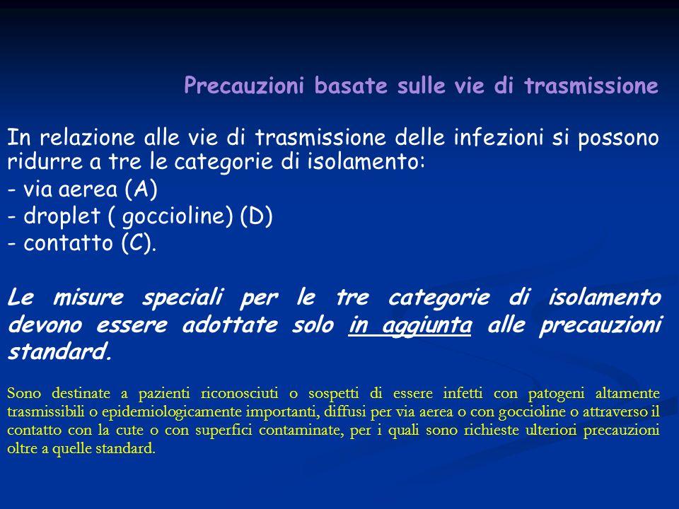Precauzioni basate sulle vie di trasmissione In relazione alle vie di trasmissione delle infezioni si possono ridurre a tre le categorie di isolamento: - via aerea (A) - droplet ( goccioline) (D) - contatto (C).