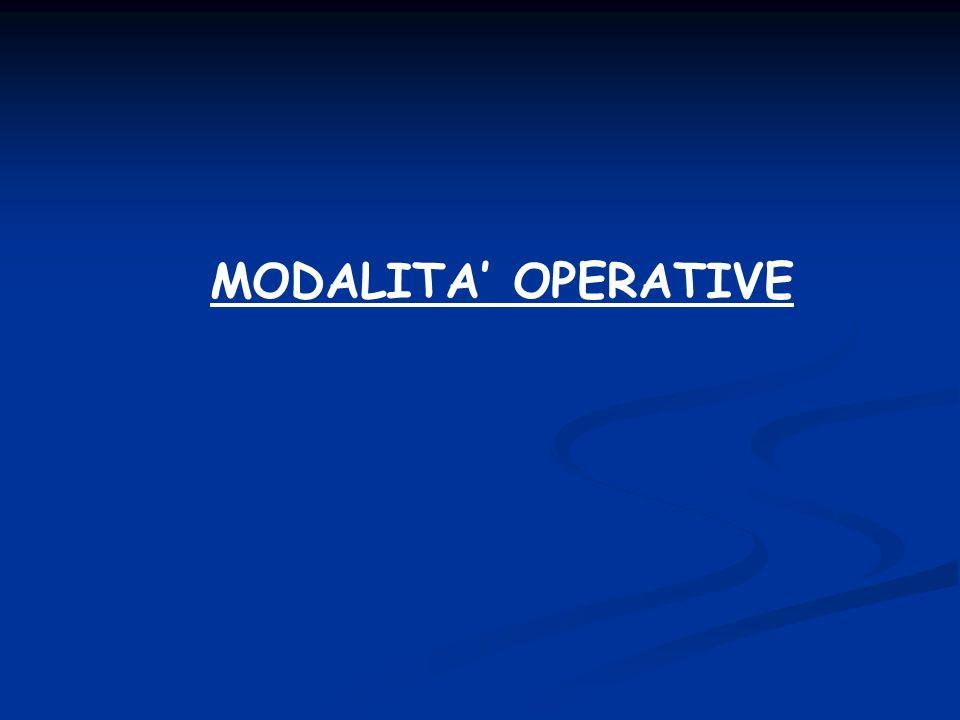 MODALITA OPERATIVE