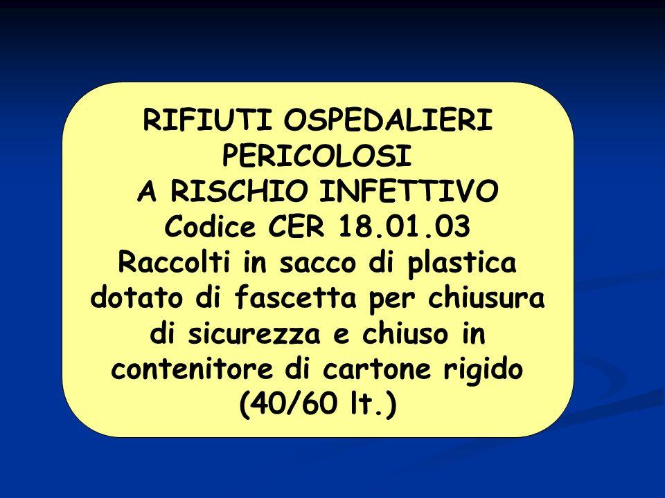 RIFIUTI OSPEDALIERI PERICOLOSI A RISCHIO INFETTIVO Codice CER 18.01.03 Raccolti in sacco di plastica dotato di fascetta per chiusura di sicurezza e chiuso in contenitore di cartone rigido (40/60 lt.)