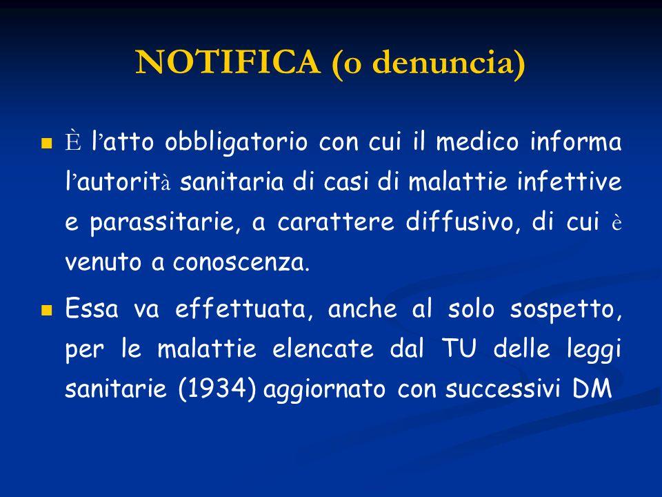 NOTIFICA (o denuncia) È l atto obbligatorio con cui il medico informa l autorit à sanitaria di casi di malattie infettive e parassitarie, a carattere diffusivo, di cui è venuto a conoscenza.