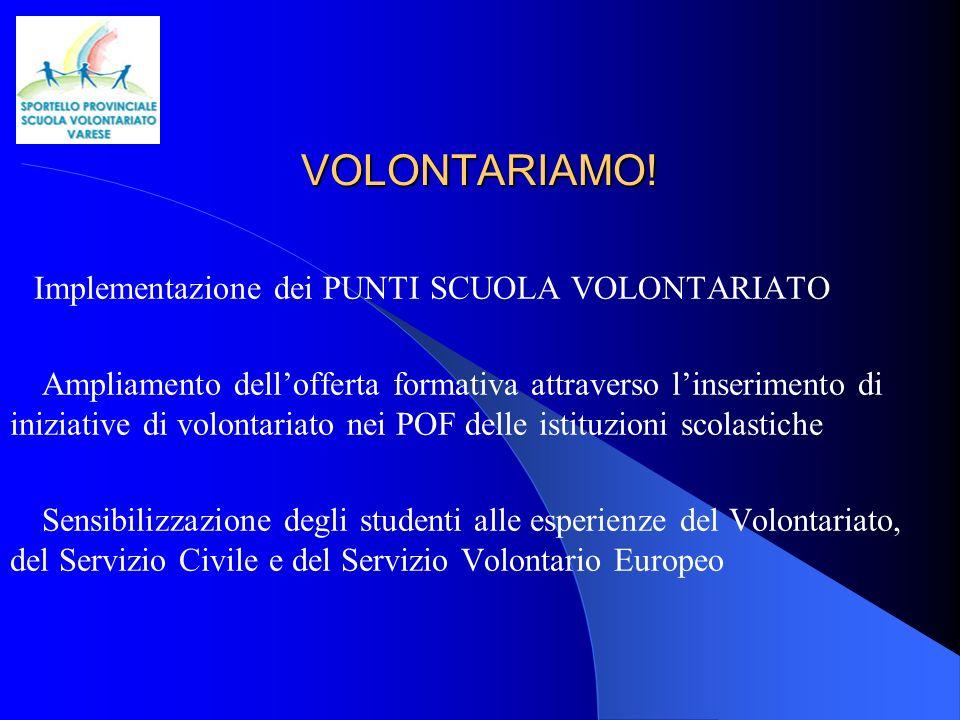SPORTELLO PROVINCIALE SCUOLA VOLONTARIATO VARESE via Zucchi,5 c/o IPSIA Varese Ministero dell Istruzione UFFICIO SCOLASTICO REGIONALE PER LA LOMBARDIA