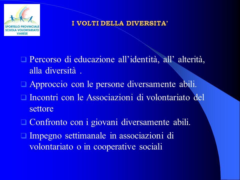 I VOLTI DELLA DIVERSITA I VOLTI DELLA DIVERSITA Percorso di educazione allidentità, all alterità, alla diversità.