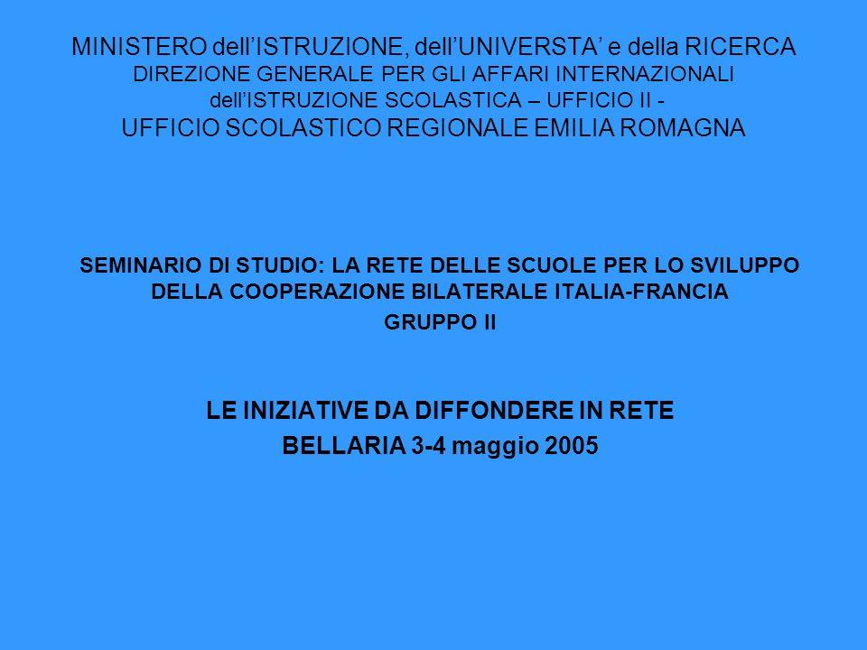 MINISTERO dellISTRUZIONE, dellUNIVERSTA e della RICERCA DIREZIONE GENERALE PER GLI AFFARI INTERNAZIONALI dellISTRUZIONE SCOLASTICA – UFFICIO II - UFFICIO SCOLASTICO REGIONALE EMILIA ROMAGNA SEMINARIO DI STUDIO: LA RETE DELLE SCUOLE PER LO SVILUPPO DELLA COOPERAZIONE BILATERALE ITALIA-FRANCIA GRUPPO II LE INIZIATIVE DA DIFFONDERE IN RETE BELLARIA 3-4 maggio 2005