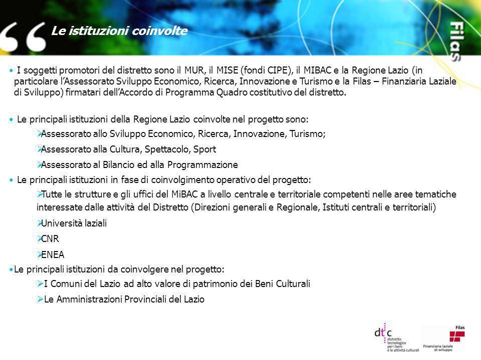 Le istituzioni coinvolte I soggetti promotori del distretto sono il MUR, il MISE (fondi CIPE), il MIBAC e la Regione Lazio (in particolare lAssessorat