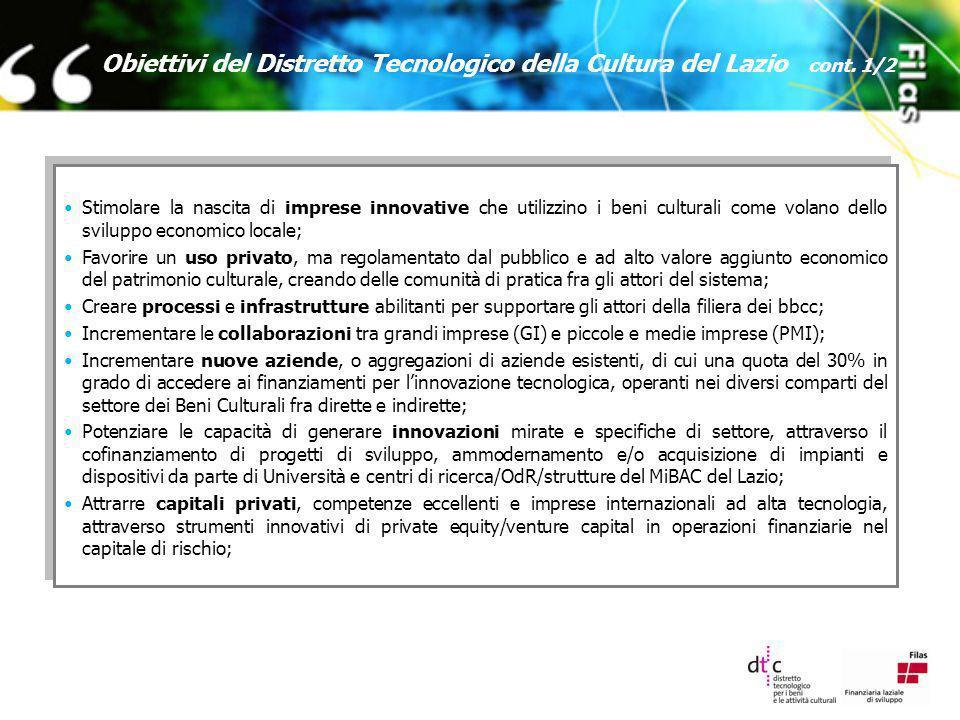 Obiettivi del Distretto Tecnologico della Cultura del Lazio cont. 1/2 Stimolare la nascita di imprese innovative che utilizzino i beni culturali come