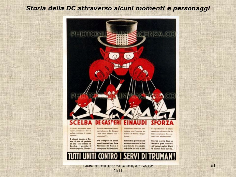 Liceo Scientifico Antonelli, a.s. 2010- 2011 61 Storia della DC attraverso alcuni momenti e personaggi